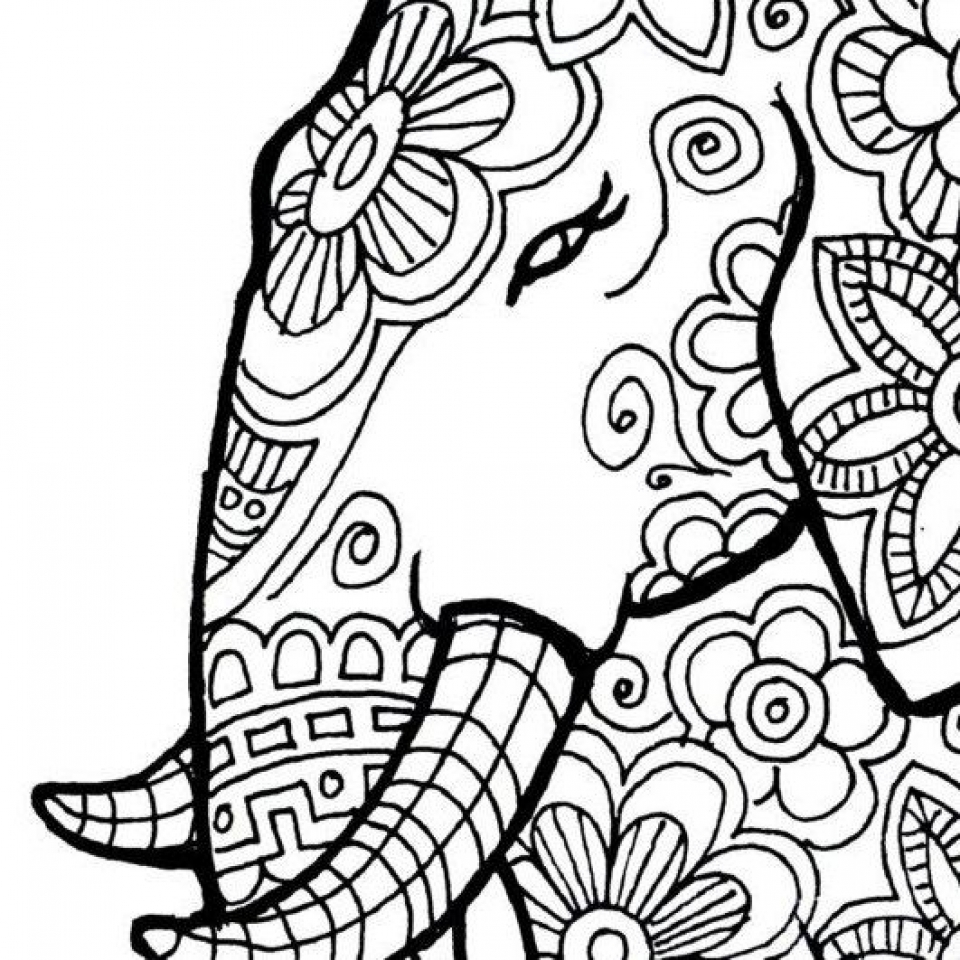 Get this free printable elephant coloring pages for adults for Coloring pages to print for adults