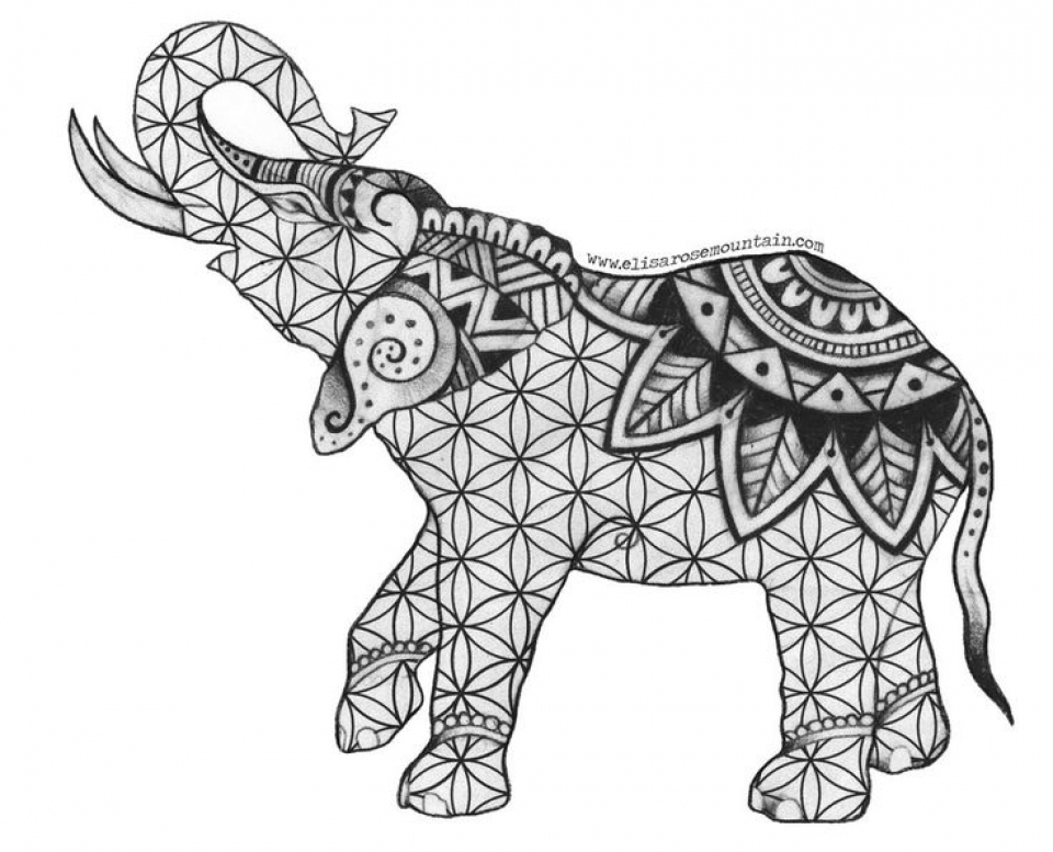 Get This Free Printable Elephant Coloring Pages For Adults Nbm582