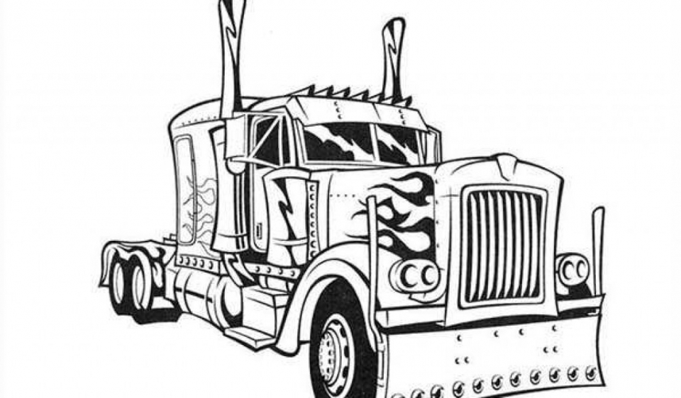 Get This Free Simple Optimus Prime Coloring Page for Children af8vj