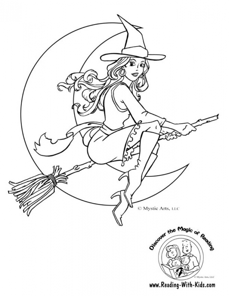 simple witch coloring pages - photo #1