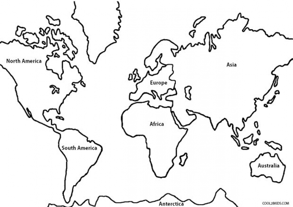 Free Simple World Map Coloring Pages For Children Afvj