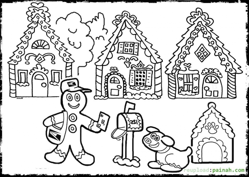 gingerbread house coloring pages for toddlers xm7zv - House Coloring Pages Toddlers