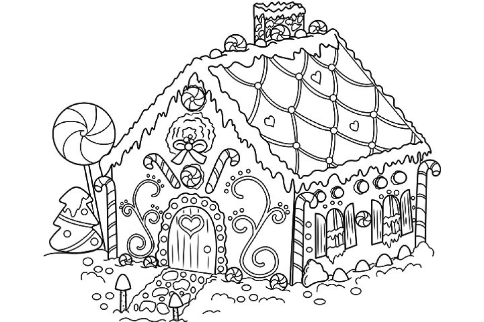 Detailed Gingerbread House Coloring Pages Image Gallery HCPR