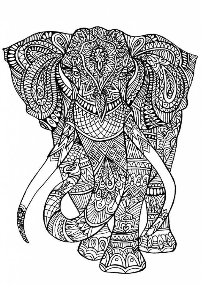 Get This Hard Elephant Coloring Pages for Adults 10 !
