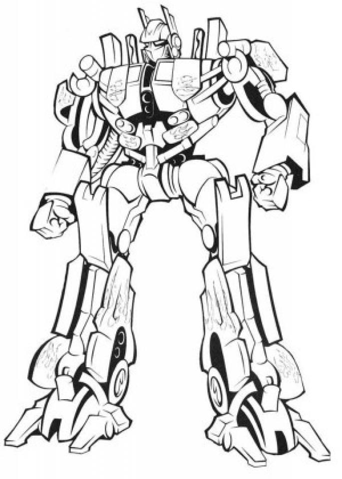 Optimus Prime Simple Coloring Page