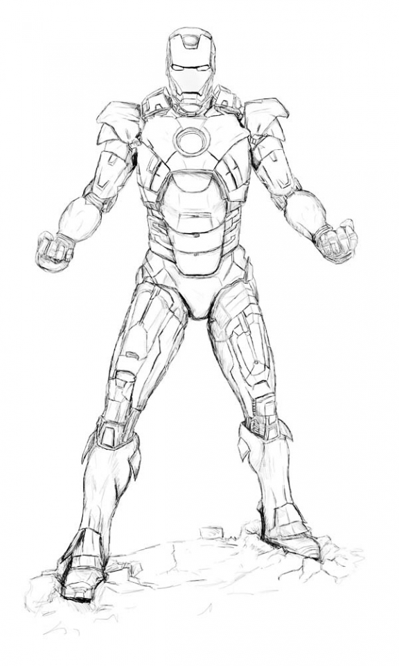 Download Coloring Pages Ironman Iron Man Printable Hero