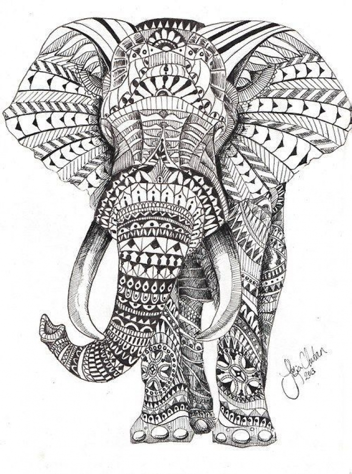 mandala elephant coloring pages 5f78h0 - Elephant Coloring Pages