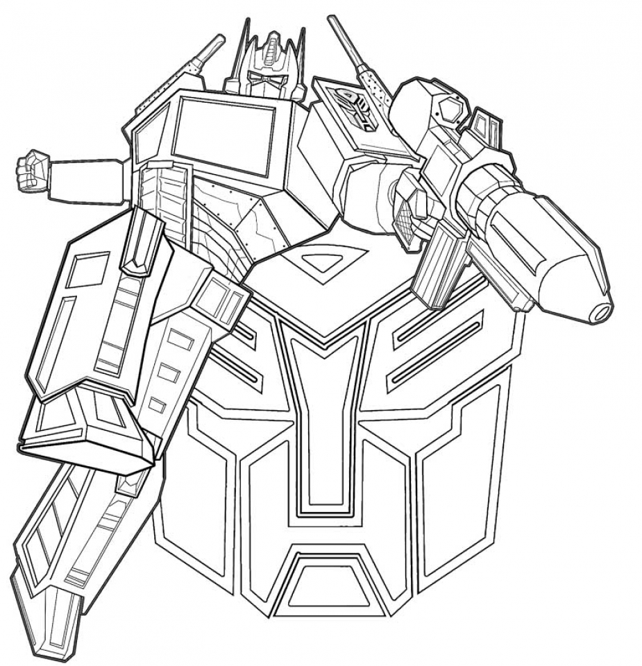 online optimus prime coloring page for kids sz5em