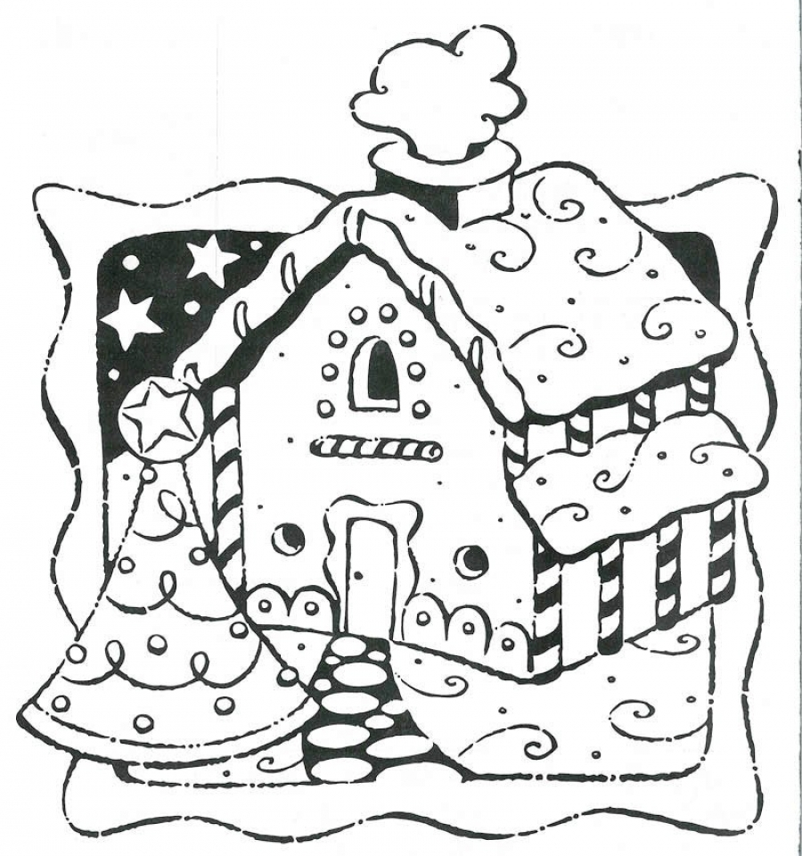 get this picture of gingerbread house coloring pages free for