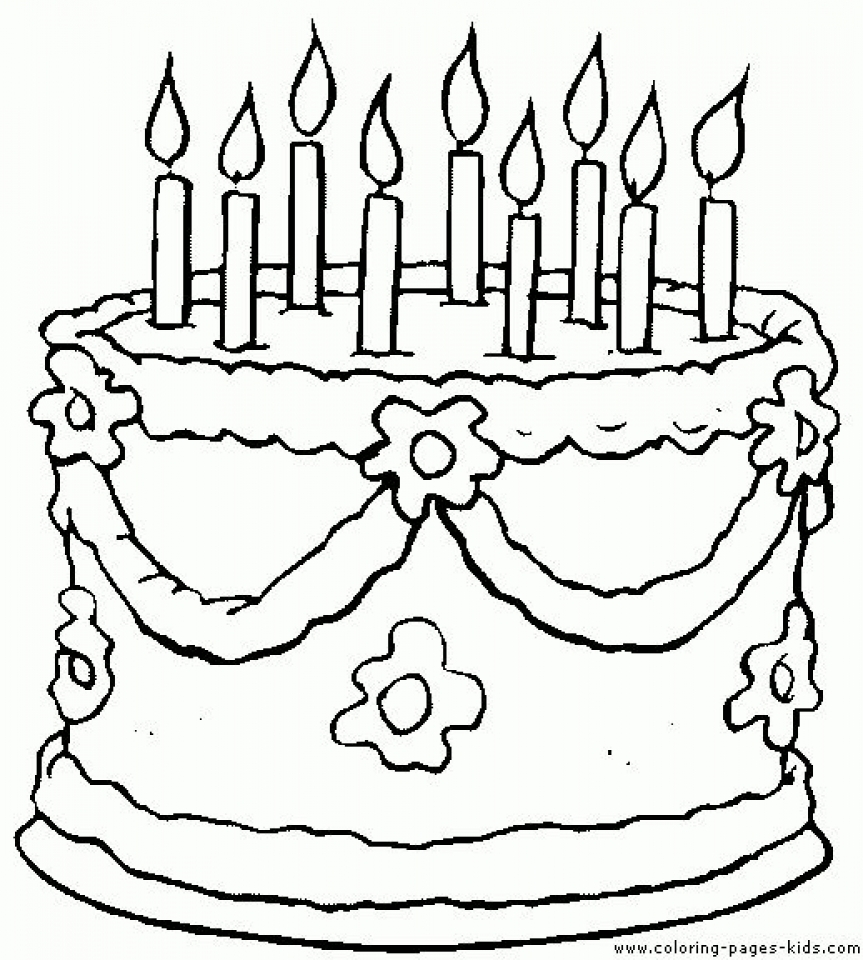 Coloring pages birthday cake - Printable Birthday Cake Coloring Pages 87141