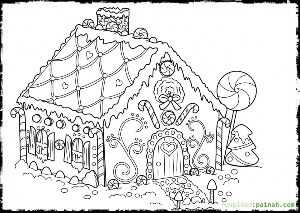 Get This Printable Gingerbread House Coloring Pages For