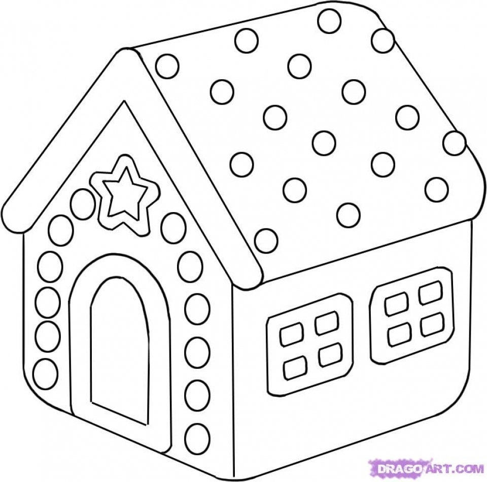 Printable Image Of Gingerbread House Coloring Pages UpIuI
