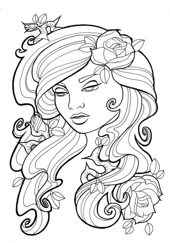 Printable Roses Coloring Pages For Adults 87141