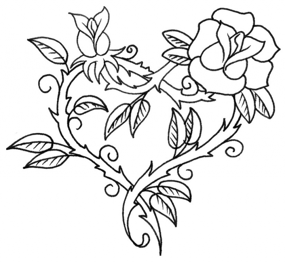 Get This Printable Roses Coloring Pages for Adults Online 64038 !