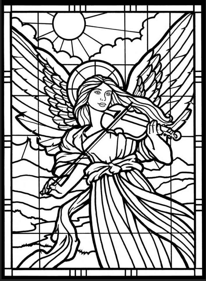 complex stained glass coloring pages - photo#16