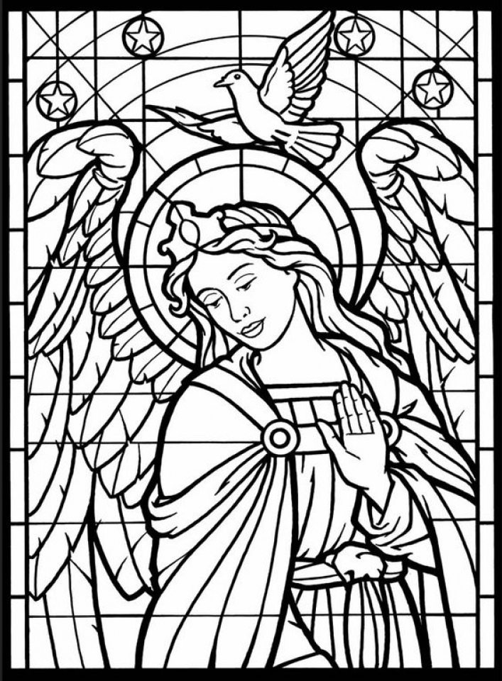 Printable Stained Glass Coloring Pages Online