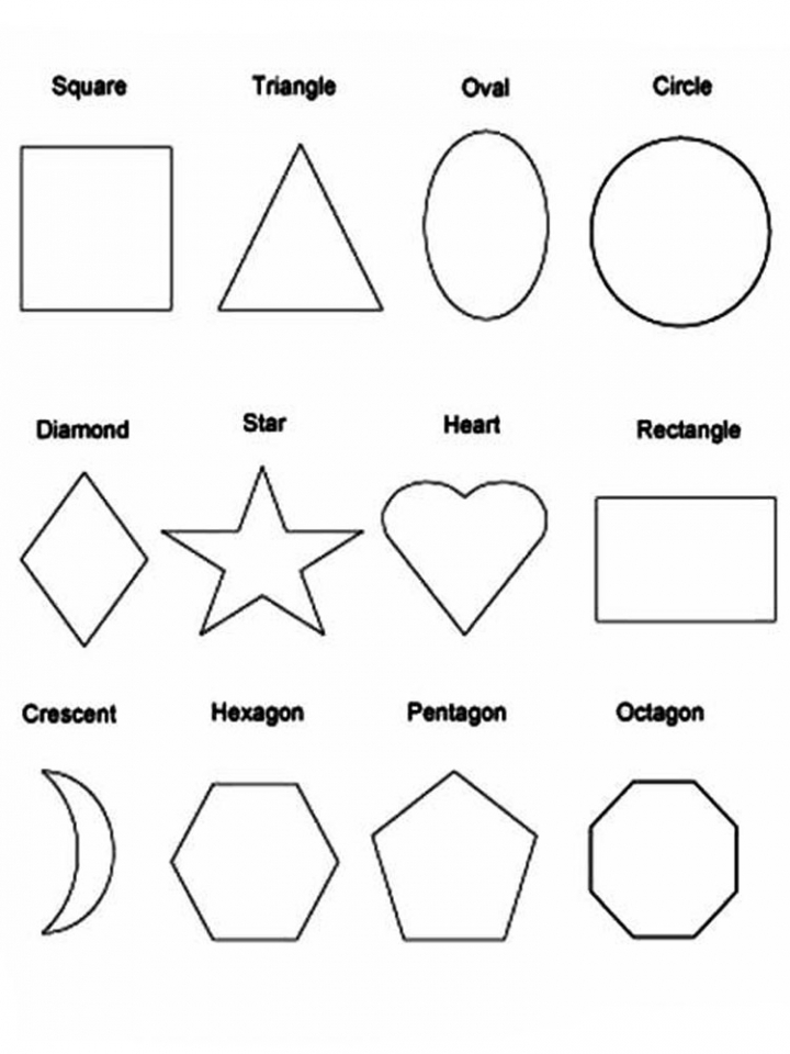 shape coloring pages for toddler | Attribute Shapes Printable Sheets Coloring Pages
