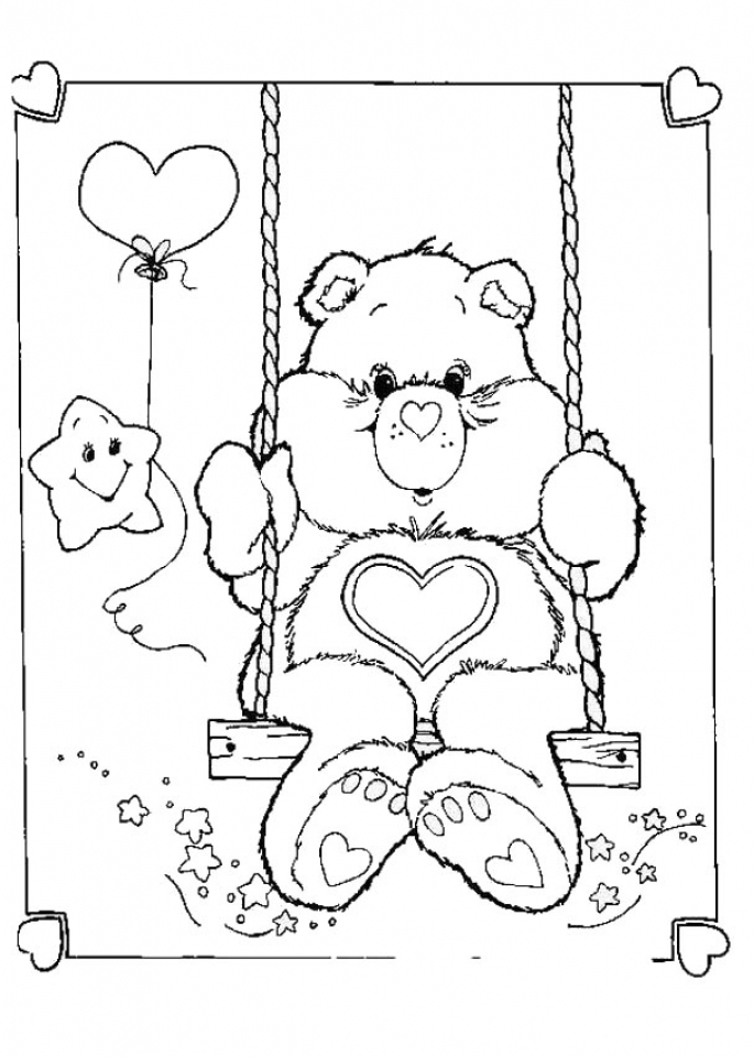 Simple Care Bear Coloring Pages to Print for Preschoolers   cdsxi