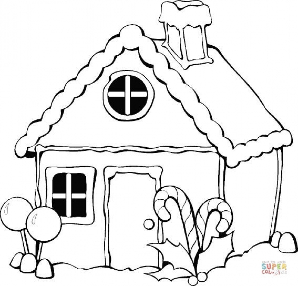 get this simple gingerbread house coloring pages to print for
