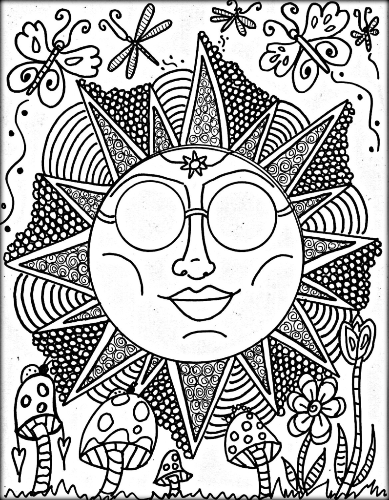 cool trippy coloring pages for grown ups pld72 - Trippy Coloring Books