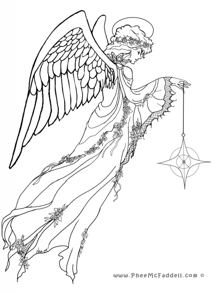 Get this angel coloring pages for adults 24v8 for Coloring page angel