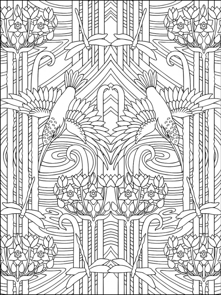 Get This Free Art Deco Patterns Coloring Pages For Adults