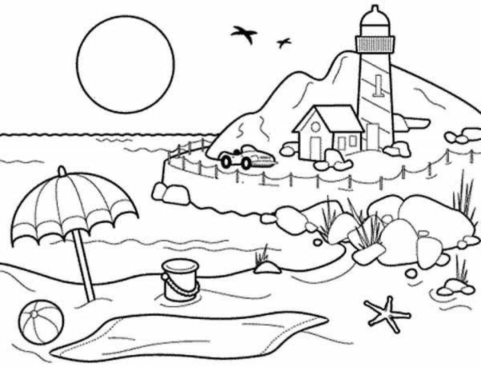 Free Beach Coloring Pages F5W4W