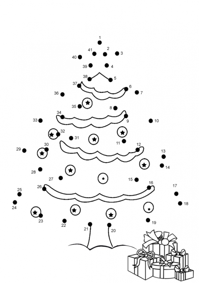 Free Christmas Dot To Coloring Pages F5W4W