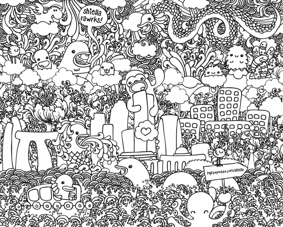Get This Free Doodle Art Coloring Pages for Adults CGT0P !