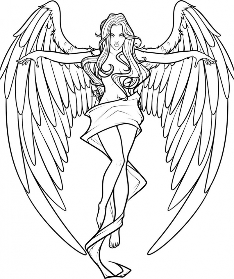 Get This Free Printable Angel Coloring Pages for Adults ...