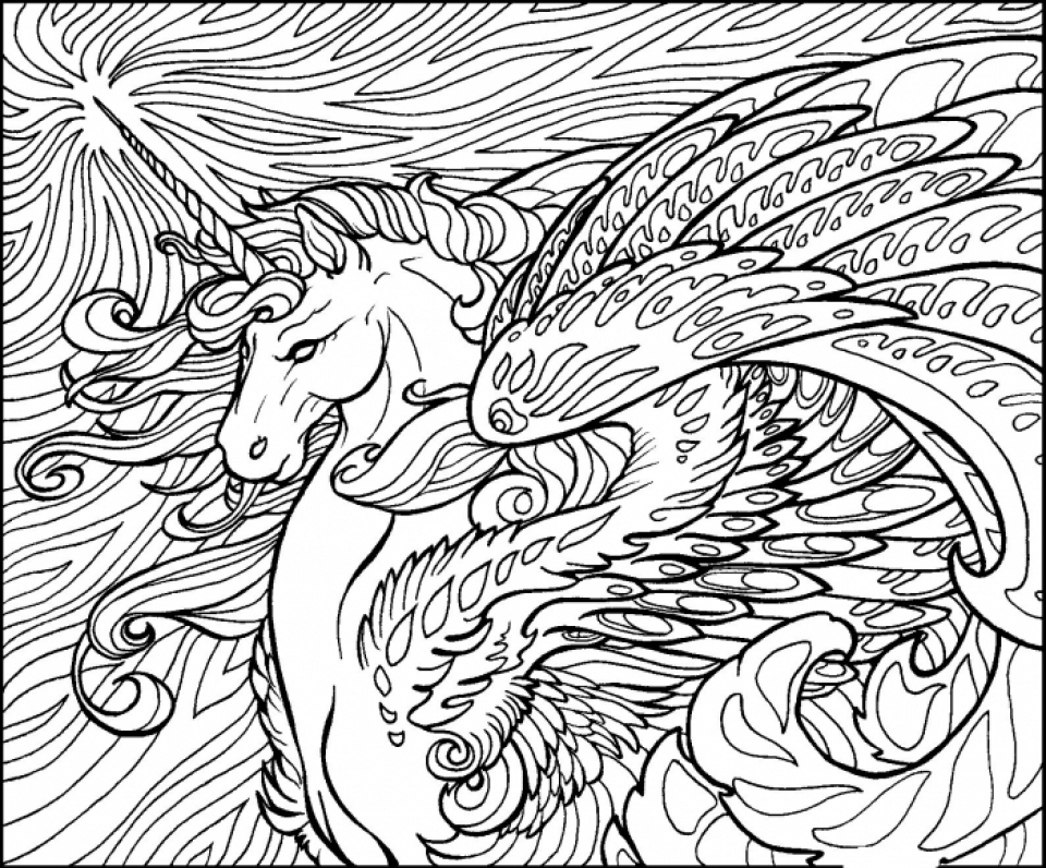 Get This Free Printable Unicorn Coloring Pages for Adults PL652