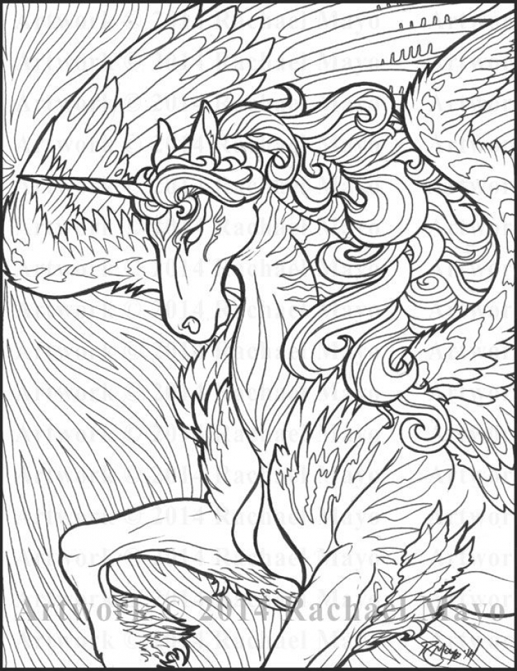 free printable unicorn coloring pages for adults wp974 - Coloring Pages Unicorn