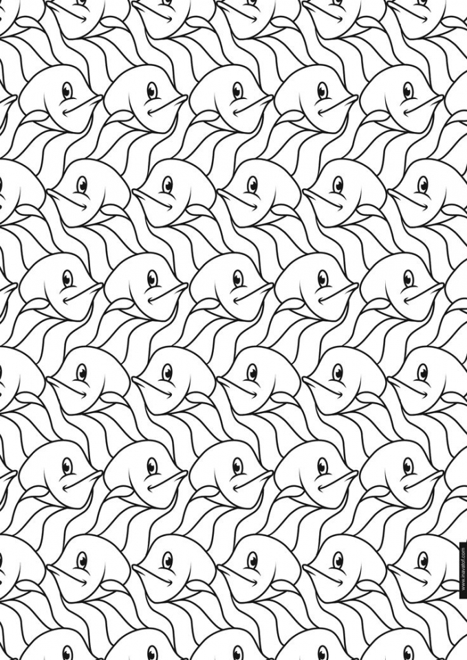 free tessellation coloring pages adult printable 77127 - Mermaid Coloring Pages Adults