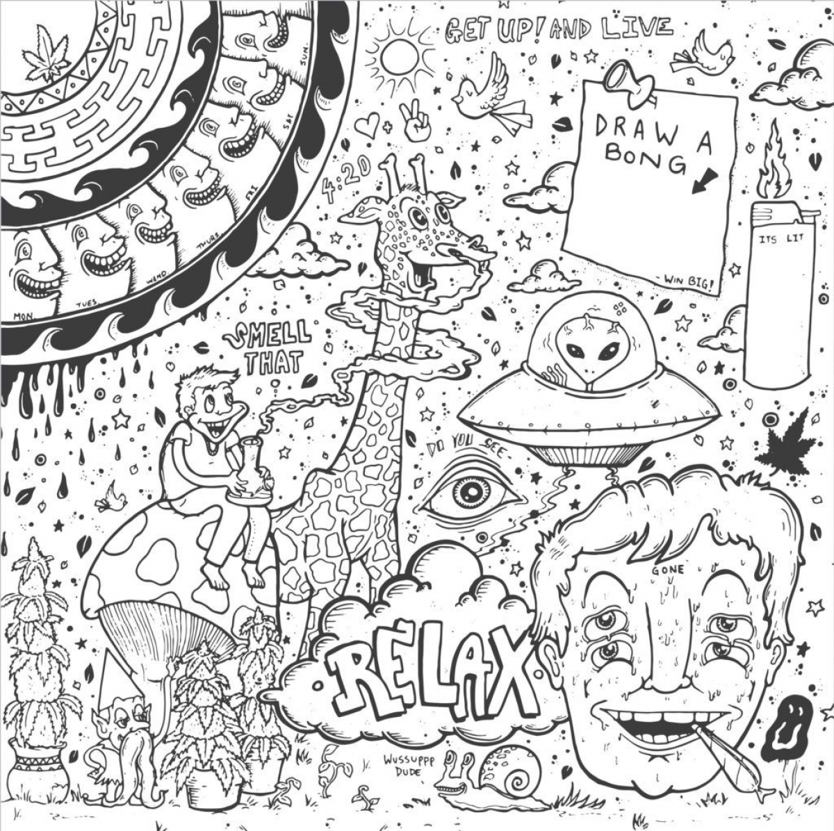 Get this free trippy coloring pages to print for adults for Printable psychedelic coloring pages