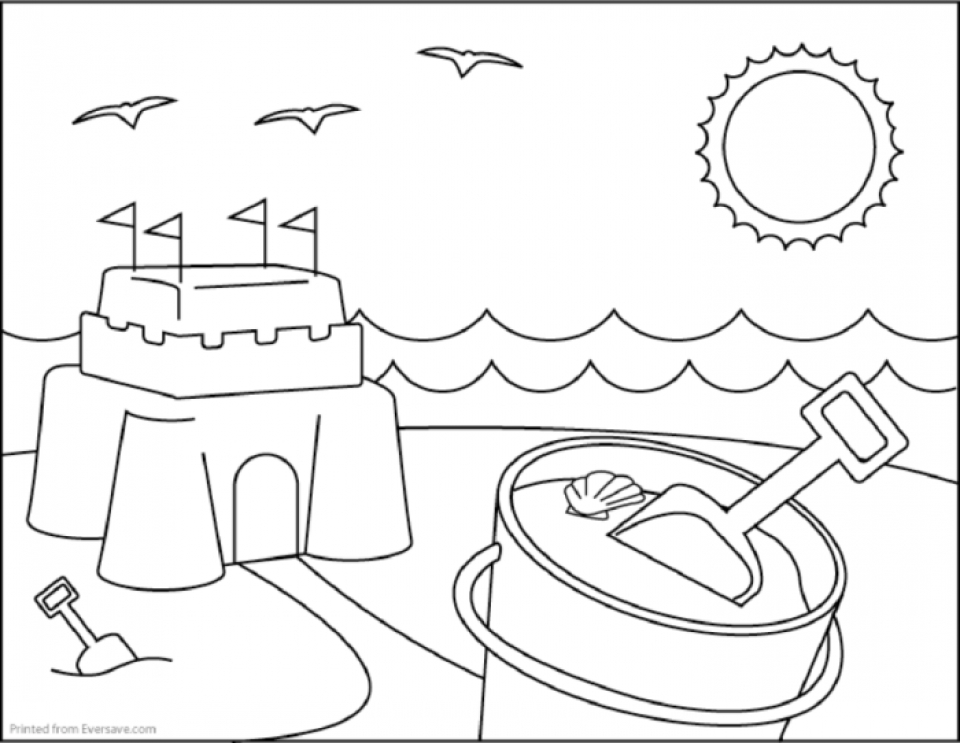 Get This Printable Beach Coloring