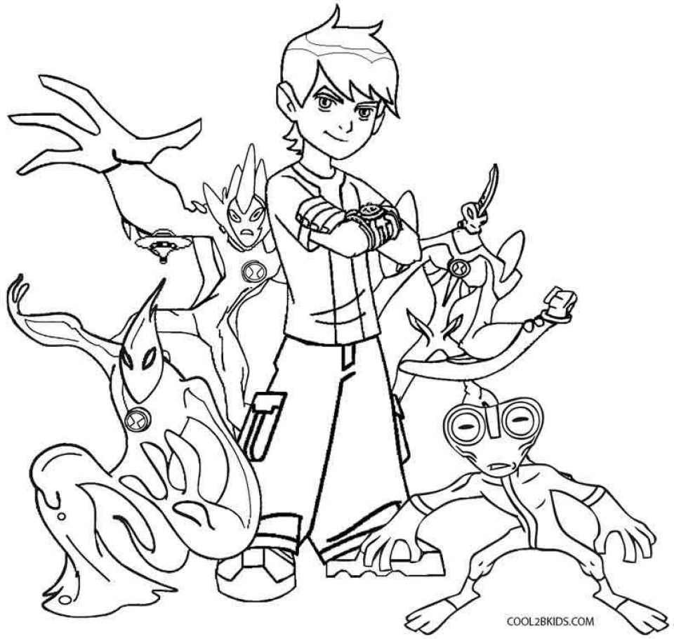 Ben 10 free colouring pages for Ten coloring page