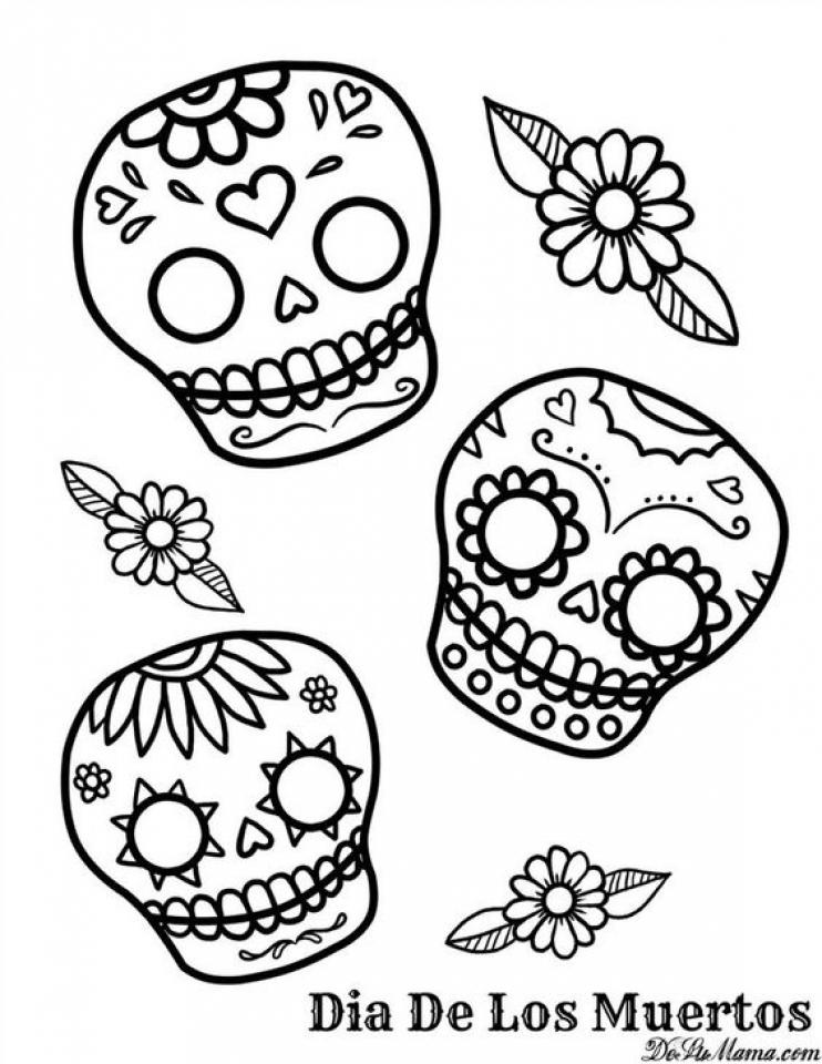 Get This Printable Dia De Los Muertos Coloring Pages Online 4auxs