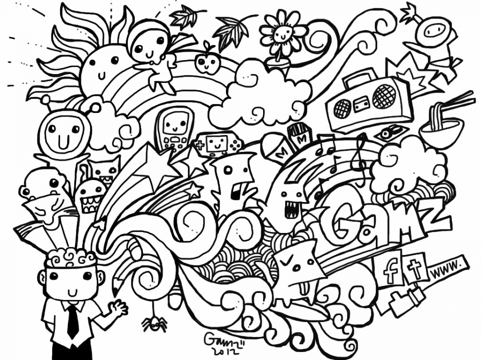 Get this printable doodle art coloring pages for grown ups for Doodle art free