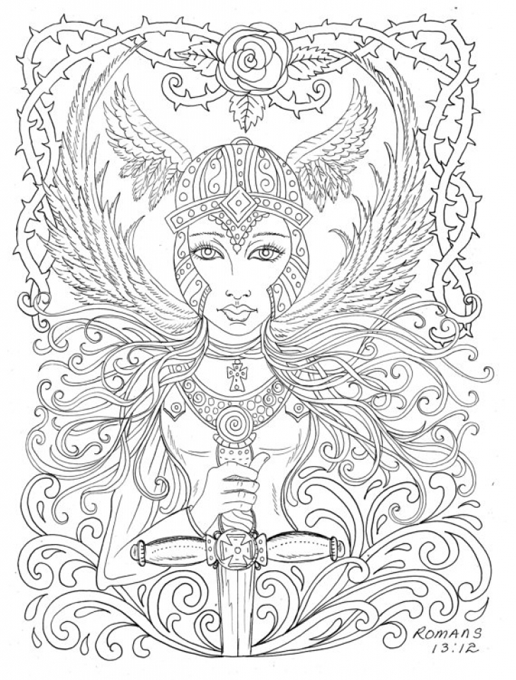 get this printable hard coloring pages of angel for grown ups ctk75