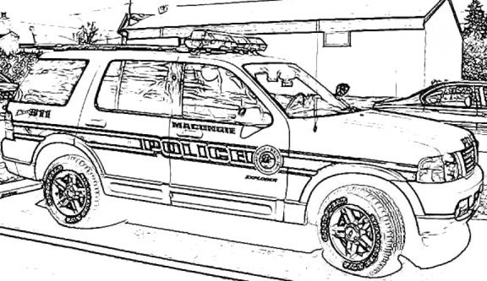 Police van pages coloring pages for Police car coloring pages to print