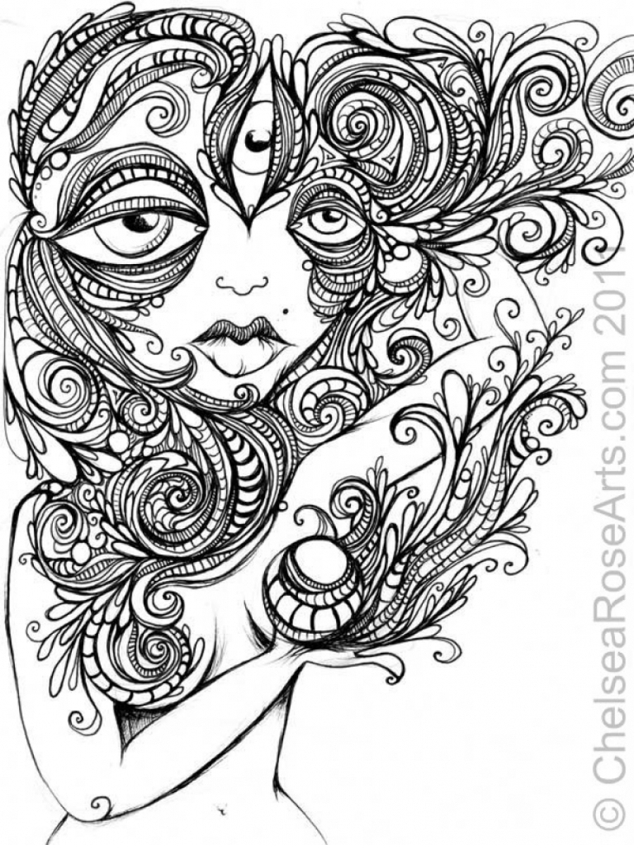 Get This Trippy Coloring Pages for Adults BH89W