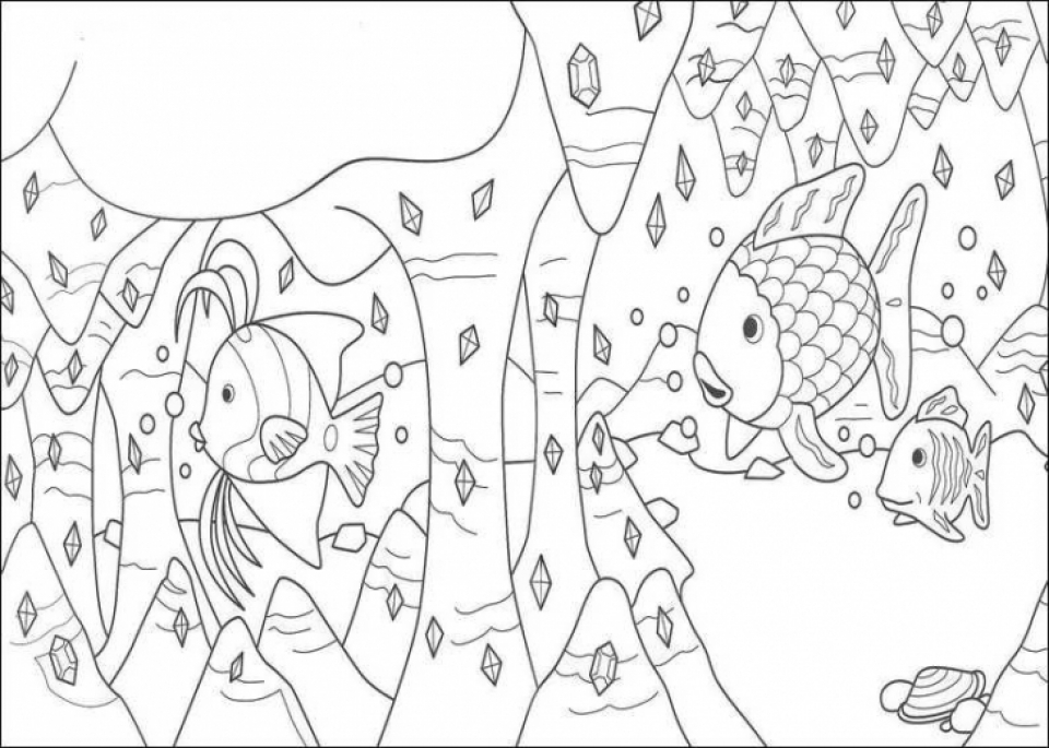 Rainbow Black And White Coloring Page The Rainbow Fish Coloring