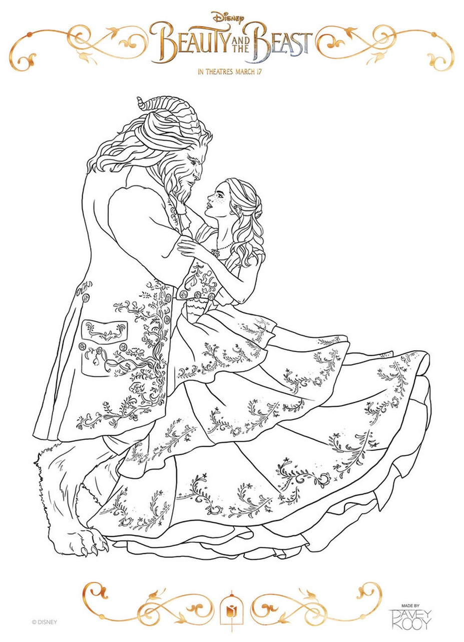 beauty and the beast 2017 coloring pages belle and beast dancing 2 - Belle Coloring Pages 2