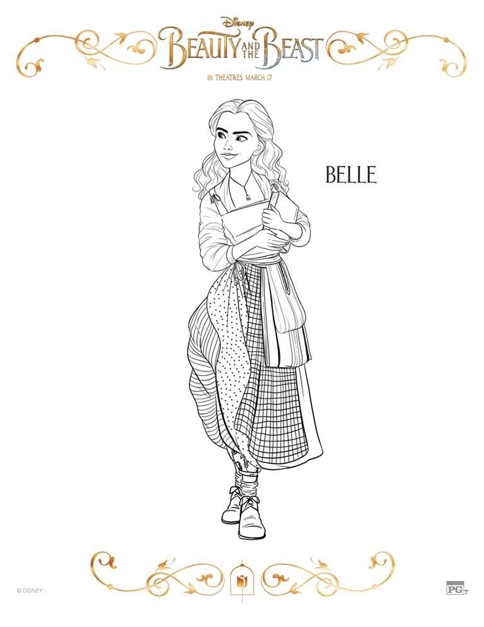 Free Printable Beauty and The Beast 2017 Coloring Pages Belle