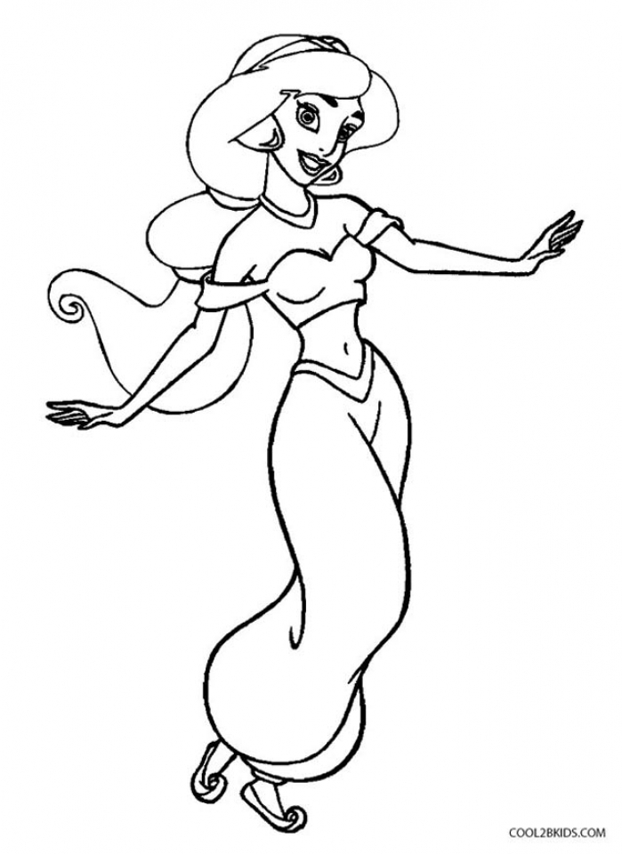 easy princess jasmine coloring pages