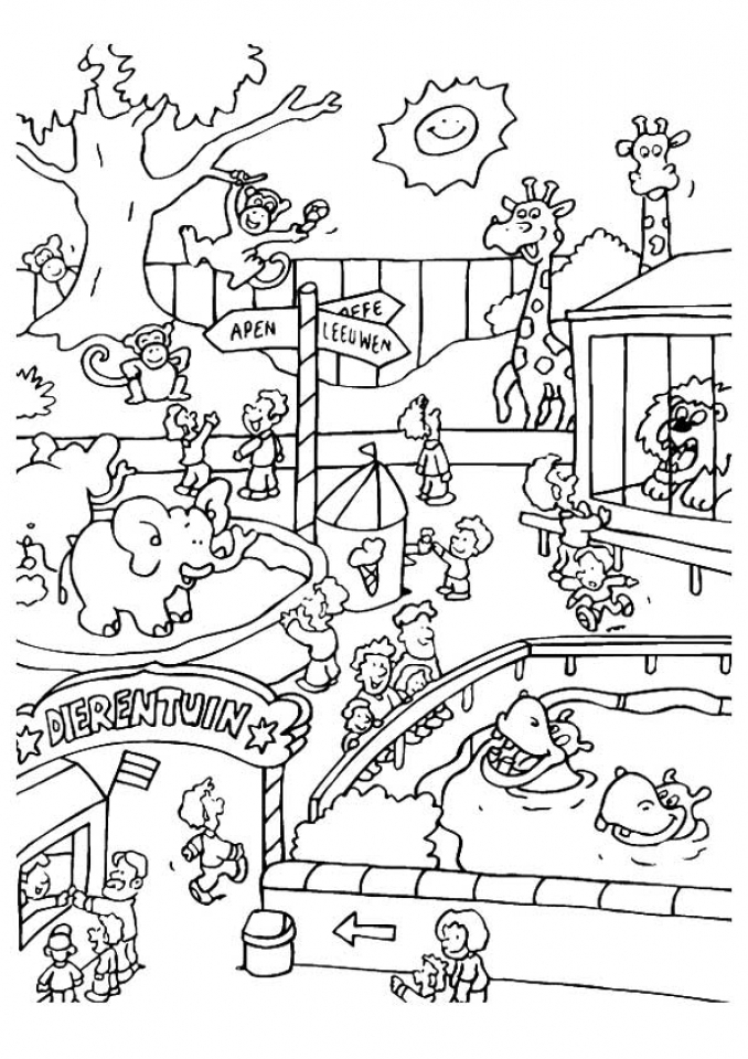Get this easy preschool printable of zoo coloring pages for Free zoo animal coloring pages
