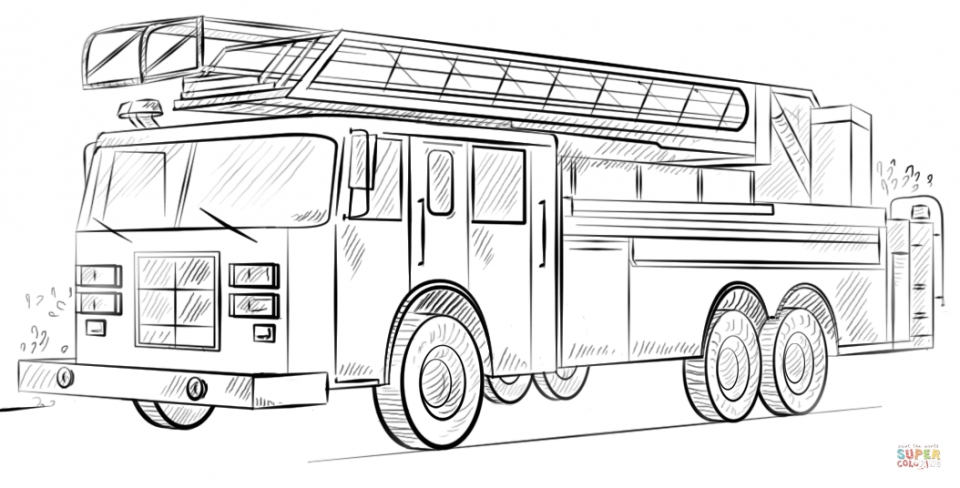 Fire Truck Coloring Page to Print for Kids   48528