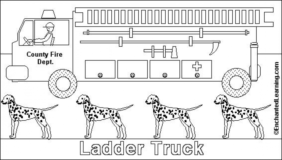 Free Picture Of Fire Truck Coloring Page 94438