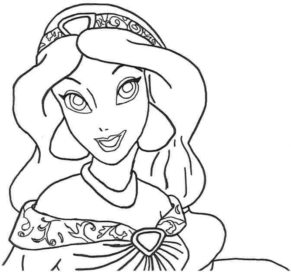 Princess jasmine coloring pages - Picture Of Jasmine Coloring Pages Free For Children 32939