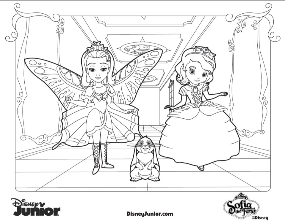 dsiney junior princess amber and sofia the first coloring pages - Sofia Coloring Pages